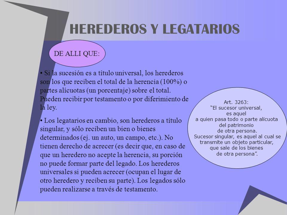 HEREDEROS Y LEGATARIOS