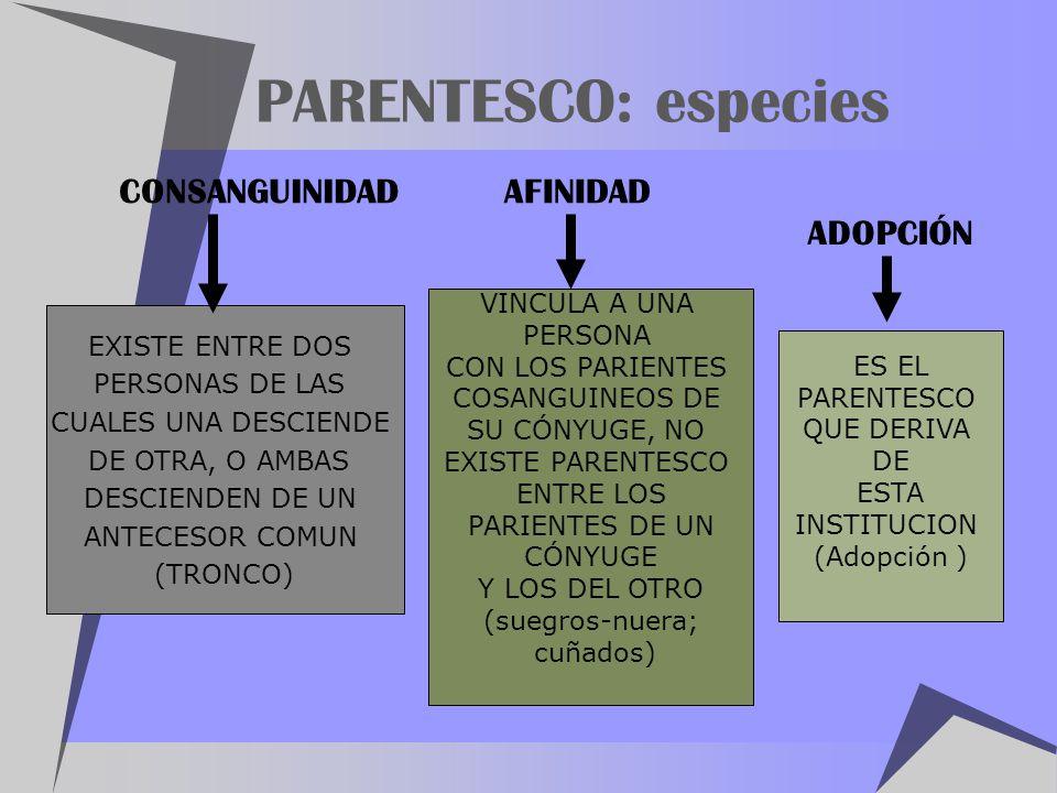PARENTESCO: especies CONSANGUINIDAD AFINIDAD ADOPCIÓN VINCULA A UNA