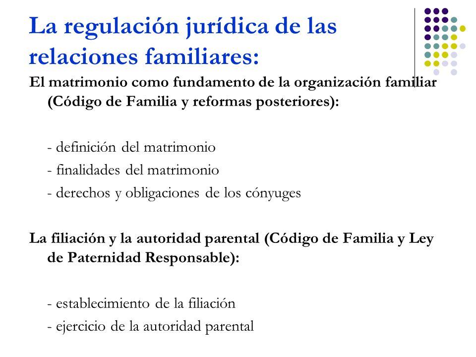 La regulación jurídica de las relaciones familiares: