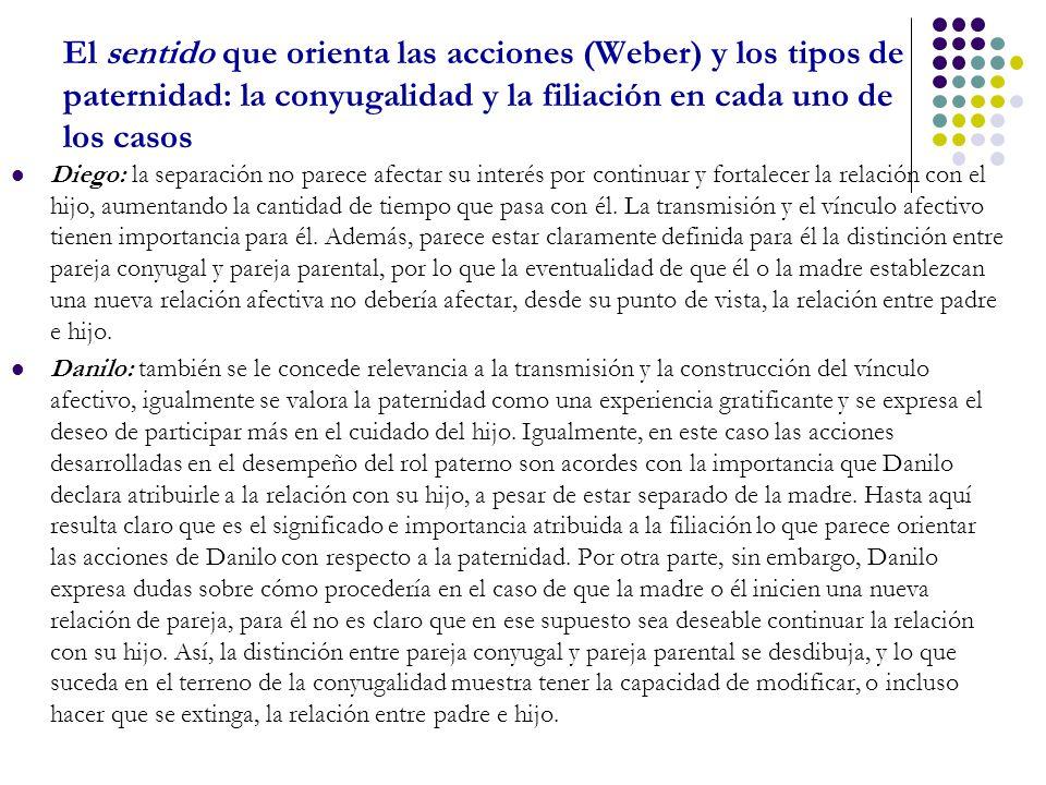 El sentido que orienta las acciones (Weber) y los tipos de paternidad: la conyugalidad y la filiación en cada uno de los casos