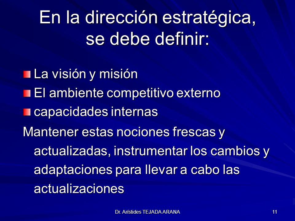 En la dirección estratégica, se debe definir: