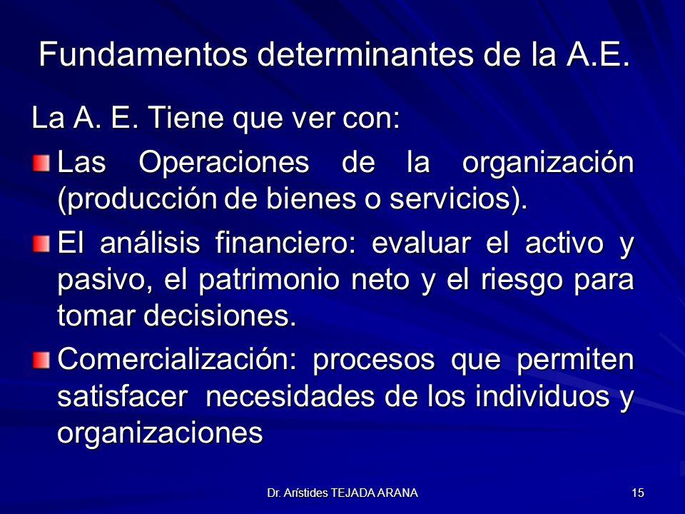 Fundamentos determinantes de la A.E.