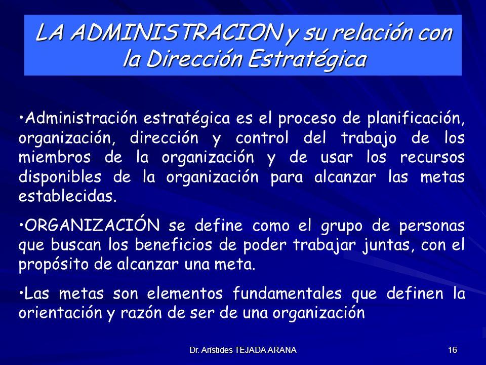 LA ADMINISTRACION y su relación con la Dirección Estratégica