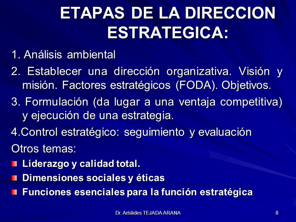 ETAPAS DE LA DIRECCION ESTRATEGICA: