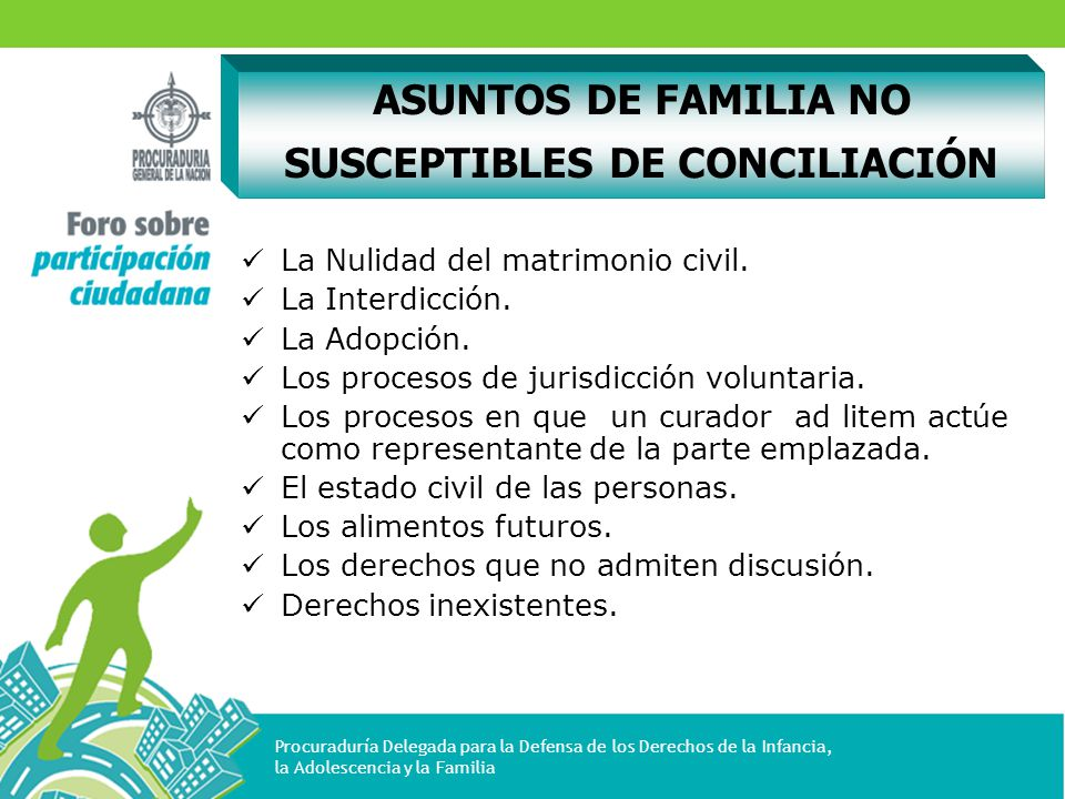ASUNTOS DE FAMILIA NO SUSCEPTIBLES DE CONCILIACIÓN
