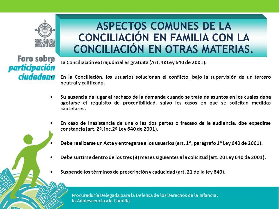 ASPECTOS COMUNES DE LA CONCILIACIÓN EN FAMILIA CON LA CONCILIACIÓN EN OTRAS MATERIAS.