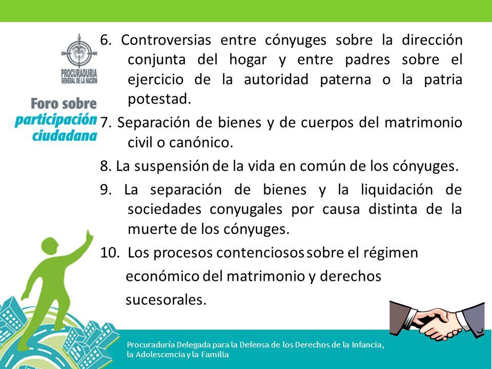 6. Controversias entre cónyuges sobre la dirección conjunta del hogar y entre padres sobre el ejercicio de la autoridad paterna o la patria potestad.