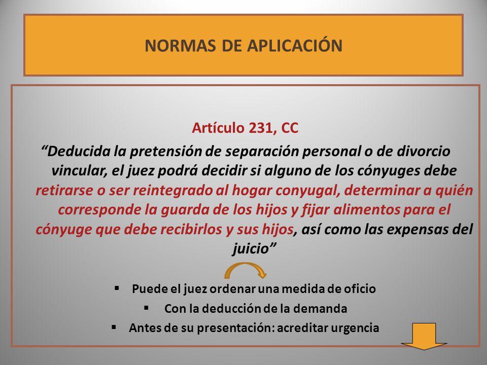 NORMAS DE APLICACIÓN Artículo 231, CC