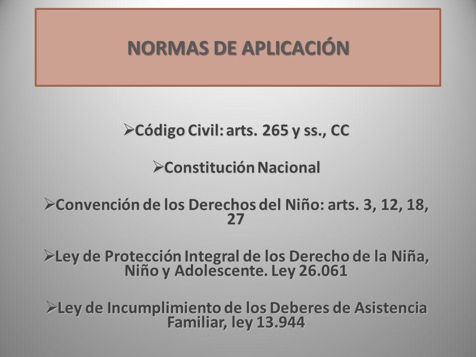 NORMAS DE APLICACIÓN Código Civil: arts. 265 y ss., CC