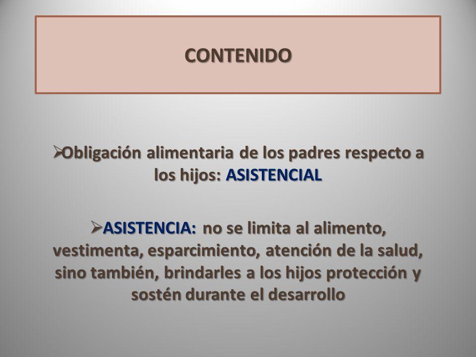 Obligación alimentaria de los padres respecto a los hijos: ASISTENCIAL