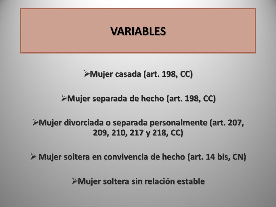 VARIABLES Mujer casada (art. 198, CC)