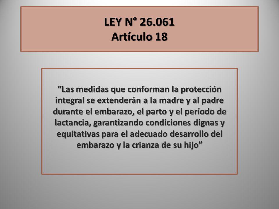 LEY N° 26.061 Artículo 18