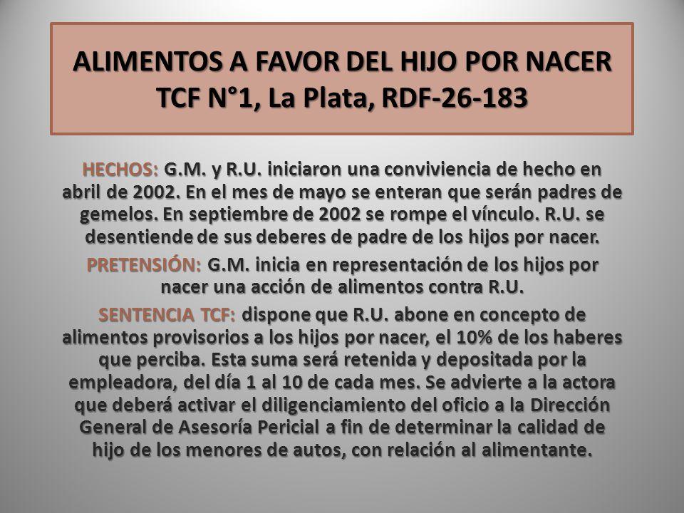 ALIMENTOS A FAVOR DEL HIJO POR NACER TCF N°1, La Plata, RDF-26-183
