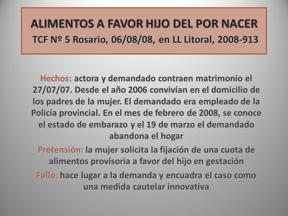 ALIMENTOS A FAVOR HIJO DEL POR NACER TCF Nº 5 Rosario, 06/08/08, en LL Litoral, 2008-913