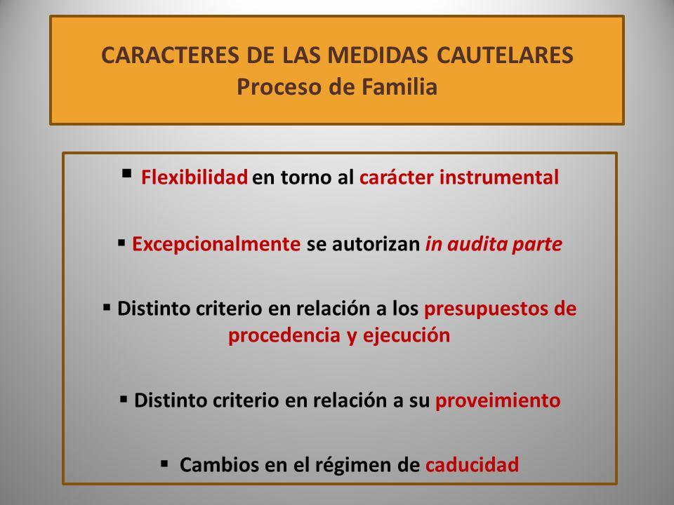 CARACTERES DE LAS MEDIDAS CAUTELARES Proceso de Familia