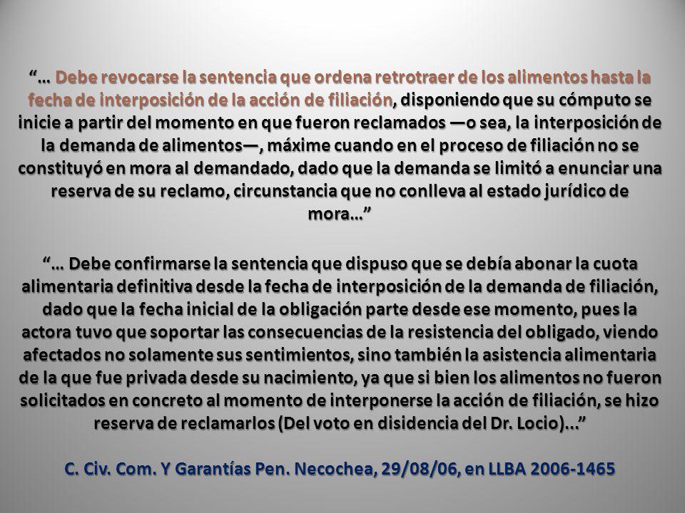C. Civ. Com. Y Garantías Pen. Necochea, 29/08/06, en LLBA 2006-1465