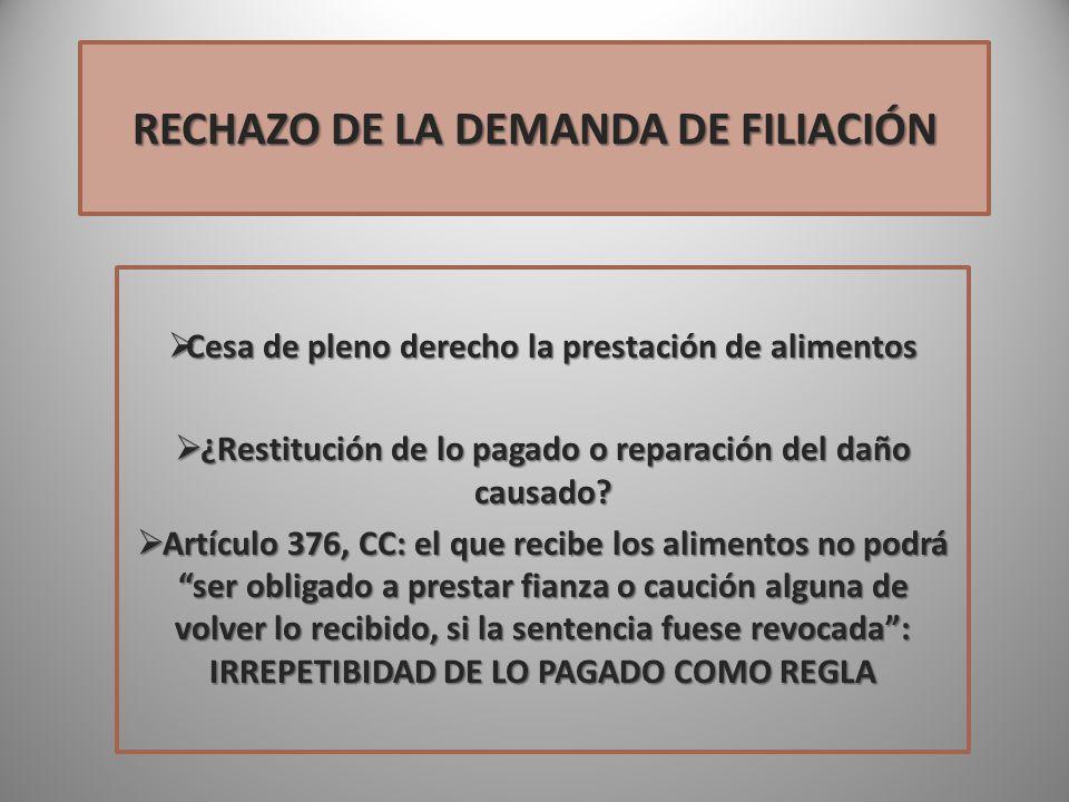 RECHAZO DE LA DEMANDA DE FILIACIÓN
