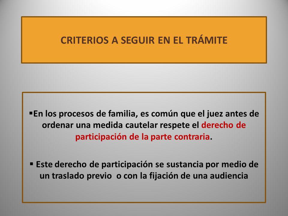 CRITERIOS A SEGUIR EN EL TRÁMITE