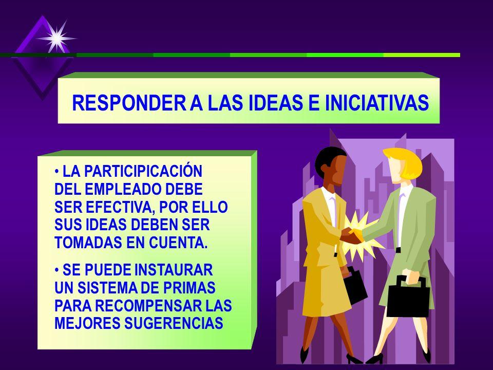 RESPONDER A LAS IDEAS E INICIATIVAS