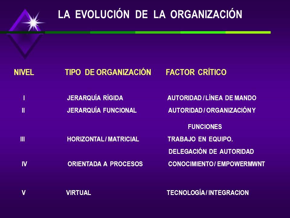 LA EVOLUCIÓN DE LA ORGANIZACIÓN