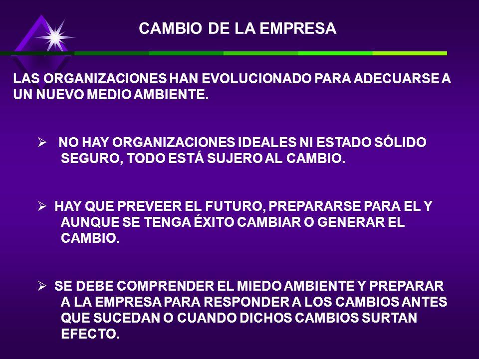 CAMBIO DE LA EMPRESA LAS ORGANIZACIONES HAN EVOLUCIONADO PARA ADECUARSE A UN NUEVO MEDIO AMBIENTE.