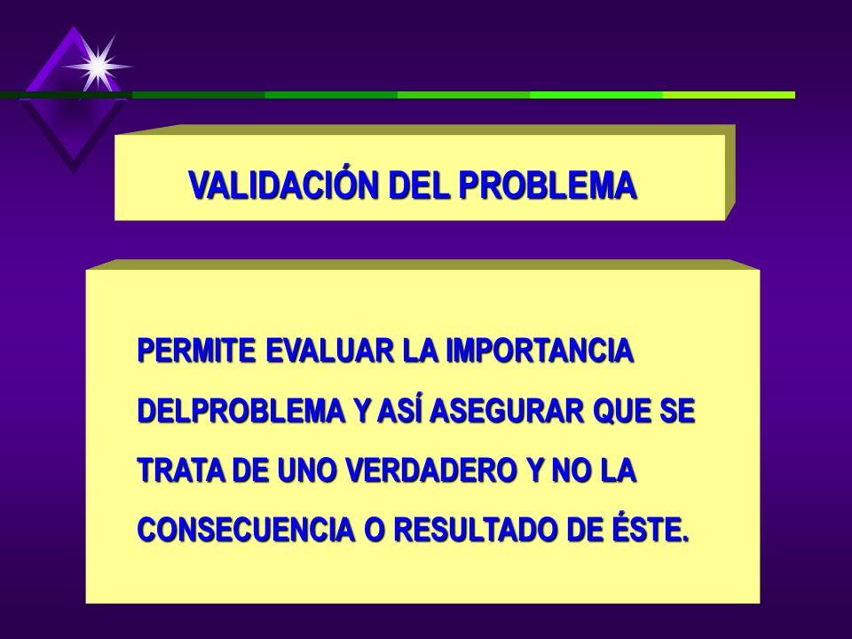 VALIDACIÓN DEL PROBLEMA