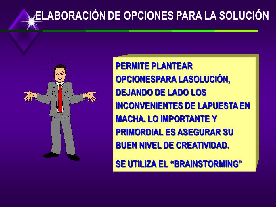 ELABORACIÓN DE OPCIONES PARA LA SOLUCIÓN