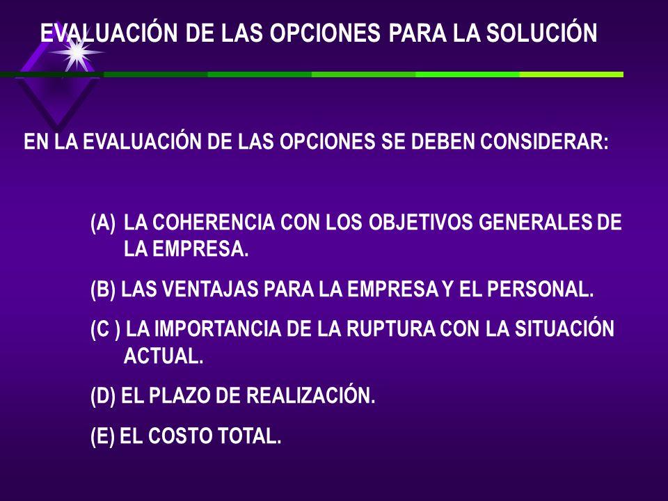 EVALUACIÓN DE LAS OPCIONES PARA LA SOLUCIÓN
