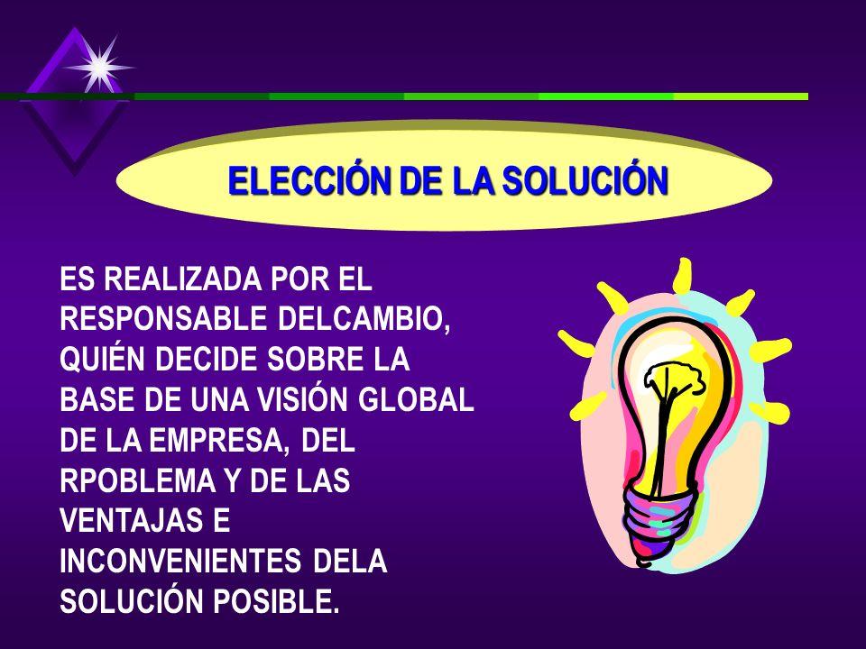 ELECCIÓN DE LA SOLUCIÓN