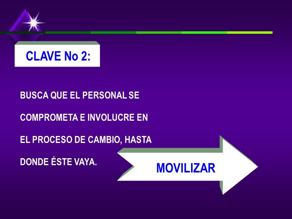 CLAVE No 2: BUSCA QUE EL PERSONAL SE COMPROMETA E INVOLUCRE EN EL PROCESO DE CAMBIO, HASTA DONDE ÉSTE VAYA.