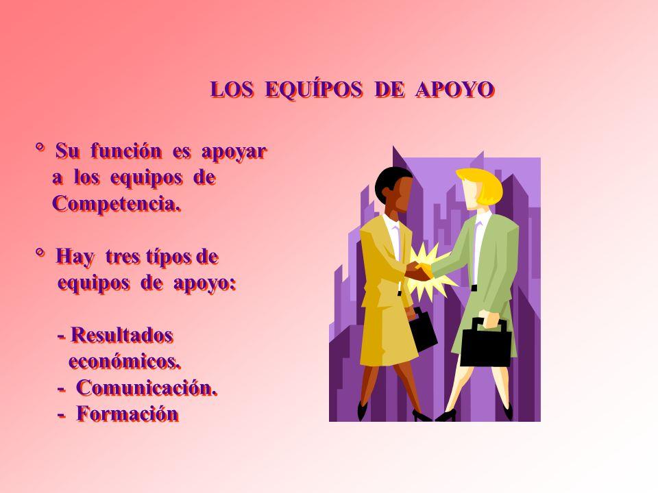 LOS EQUÍPOS DE APOYO ° Su función es apoyar. a los equipos de. Competencia. ° Hay tres típos de.