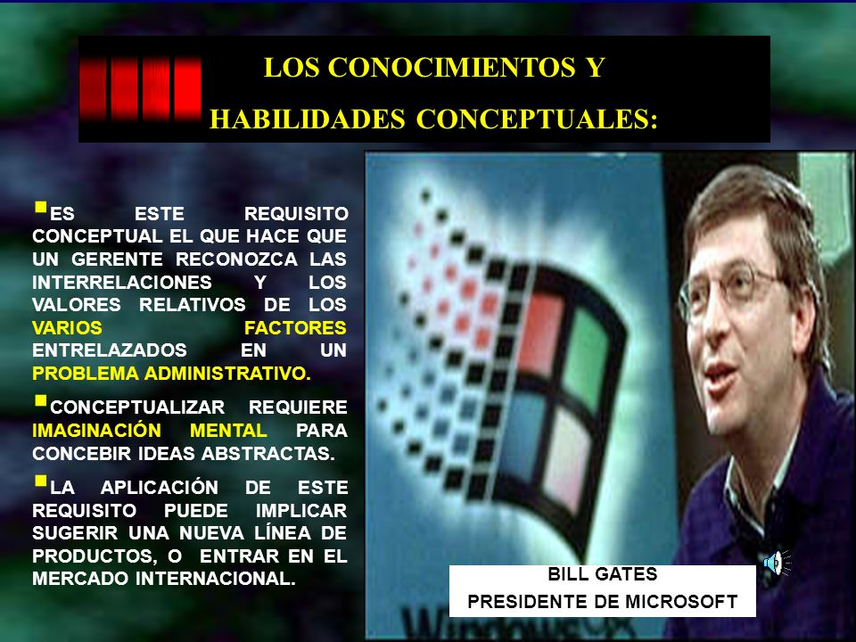 HABILIDADES CONCEPTUALES: PRESIDENTE DE MICROSOFT