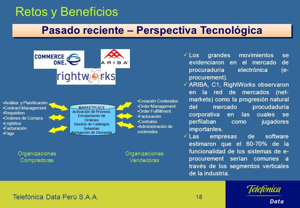 Pasado reciente – Perspectiva Tecnológica Enrutamiento de Ordenes