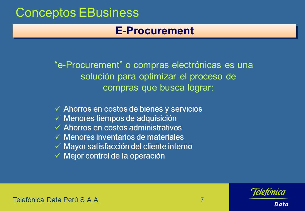 Conceptos EBusiness E-Procurement