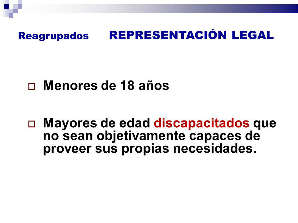Reagrupados REPRESENTACIÓN LEGAL