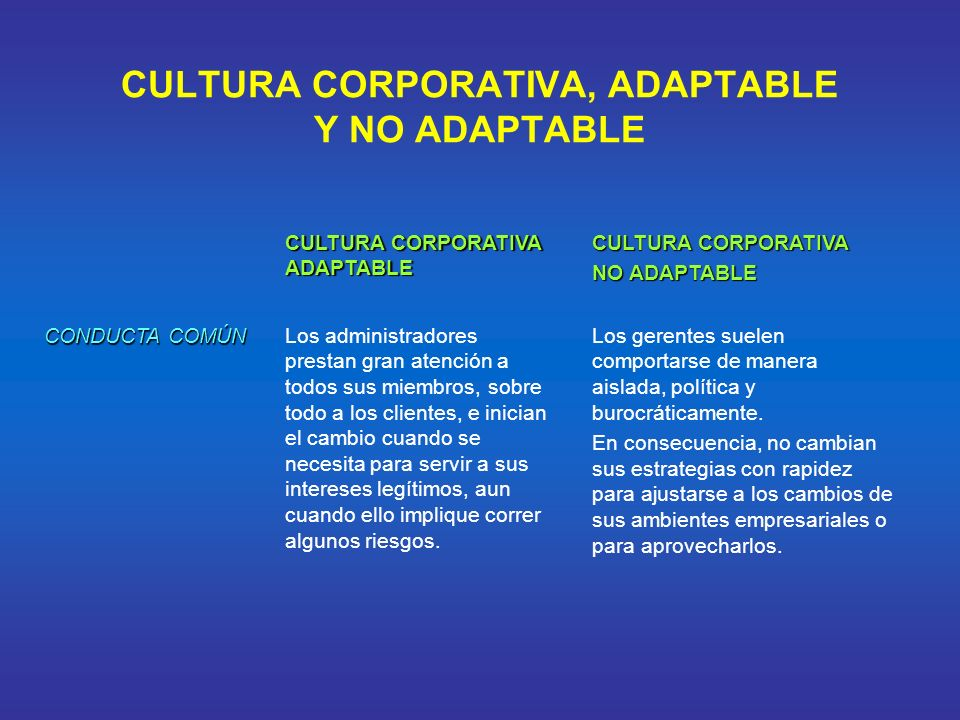 CULTURA CORPORATIVA, ADAPTABLE Y NO ADAPTABLE