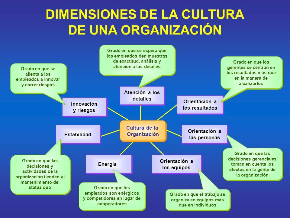 DIMENSIONES DE LA CULTURA DE UNA ORGANIZACIÓN