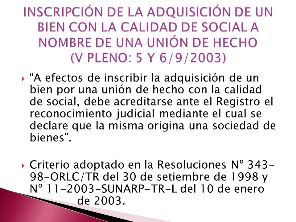 INSCRIPCIÓN DE LA ADQUISICIÓN DE UN BIEN CON LA CALIDAD DE SOCIAL A NOMBRE DE UNA UNIÓN DE HECHO (V PLENO: 5 Y 6/9/2003)