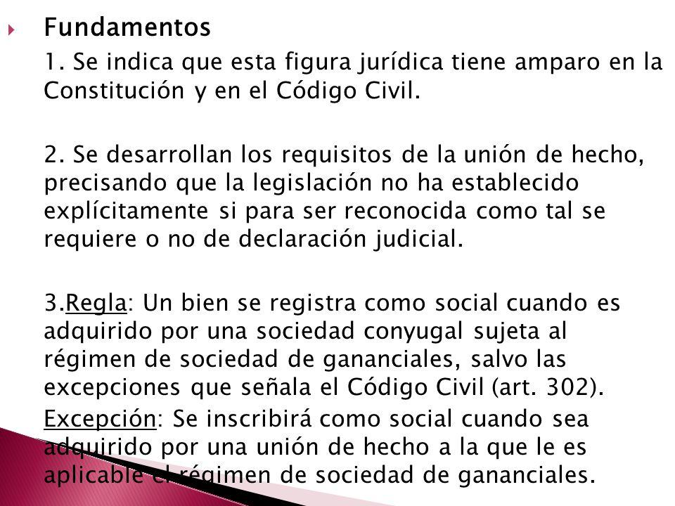 Fundamentos 1. Se indica que esta figura jurídica tiene amparo en la Constitución y en el Código Civil.