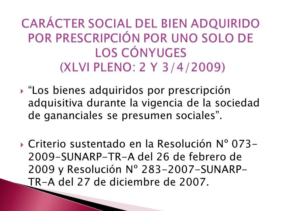 CARÁCTER SOCIAL DEL BIEN ADQUIRIDO POR PRESCRIPCIÓN POR UNO SOLO DE LOS CÓNYUGES (XLVI PLENO: 2 Y 3/4/2009)