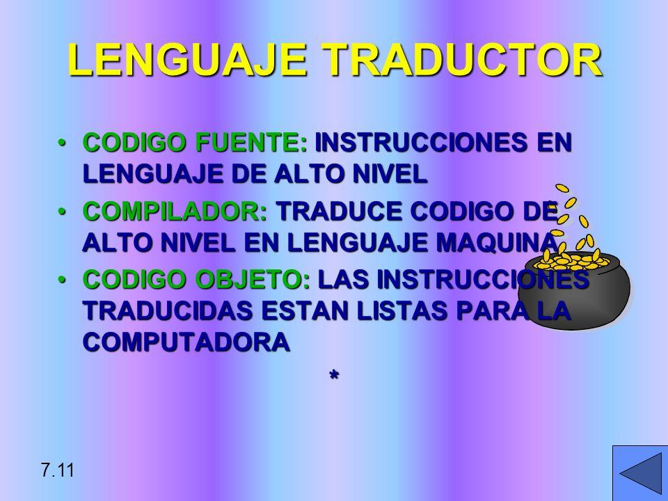 LENGUAJE TRADUCTORCODIGO FUENTE: INSTRUCCIONES EN LENGUAJE DE ALTO NIVEL. COMPILADOR: TRADUCE CODIGO DE ALTO NIVEL EN LENGUAJE MAQUINA.