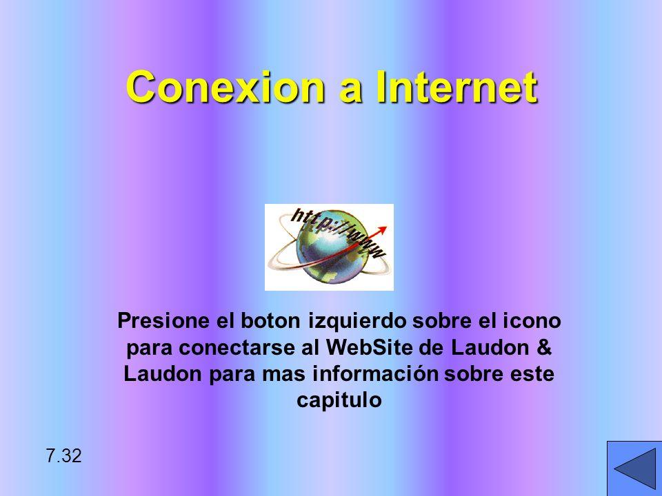 Conexion a Internet Presione el boton izquierdo sobre el icono para conectarse al WebSite de Laudon & Laudon para mas información sobre este capitulo.