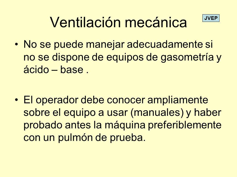 Ventilación mecánica No se puede manejar adecuadamente si no se dispone de equipos de gasometría y ácido – base .