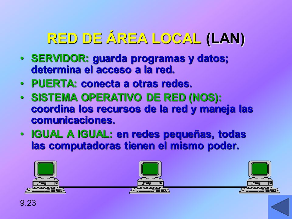 RED DE ÁREA LOCAL (LAN) SERVIDOR: guarda programas y datos; determina el acceso a la red. PUERTA: conecta a otras redes.
