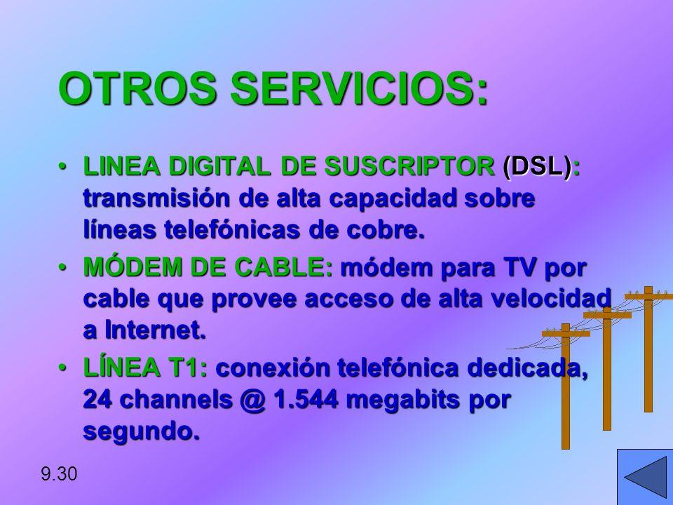 OTROS SERVICIOS: LINEA DIGITAL DE SUSCRIPTOR (DSL): transmisión de alta capacidad sobre líneas telefónicas de cobre.