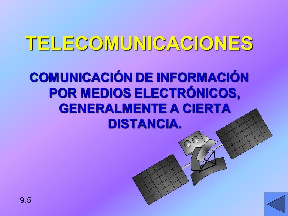 TELECOMUNICACIONES COMUNICACIÓN DE INFORMACIÓN POR MEDIOS ELECTRÓNICOS, GENERALMENTE A CIERTA DISTANCIA.