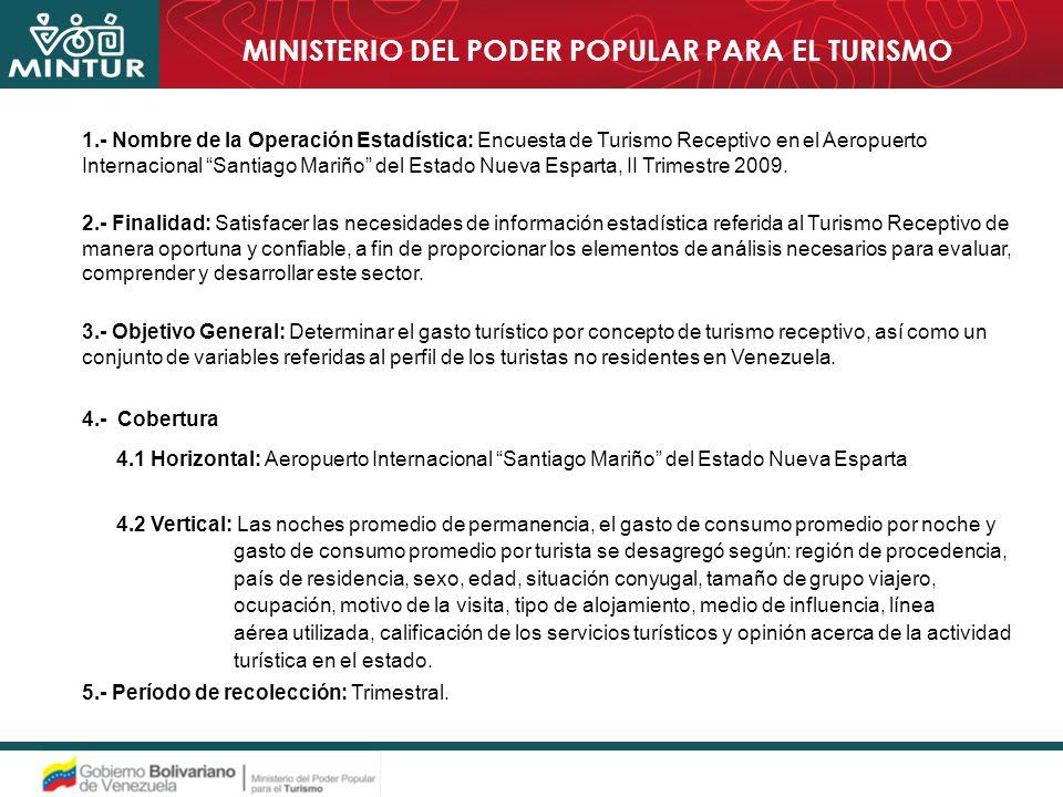 1.- Nombre de la Operación Estadística: Encuesta de Turismo Receptivo en el Aeropuerto Internacional Santiago Mariño del Estado Nueva Esparta, II Trimestre 2009.