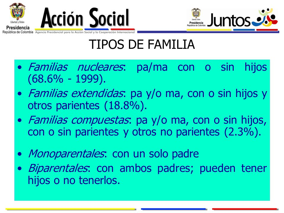 TIPOS DE FAMILIA Familias nucleares: pa/ma con o sin hijos (68.6% - 1999).