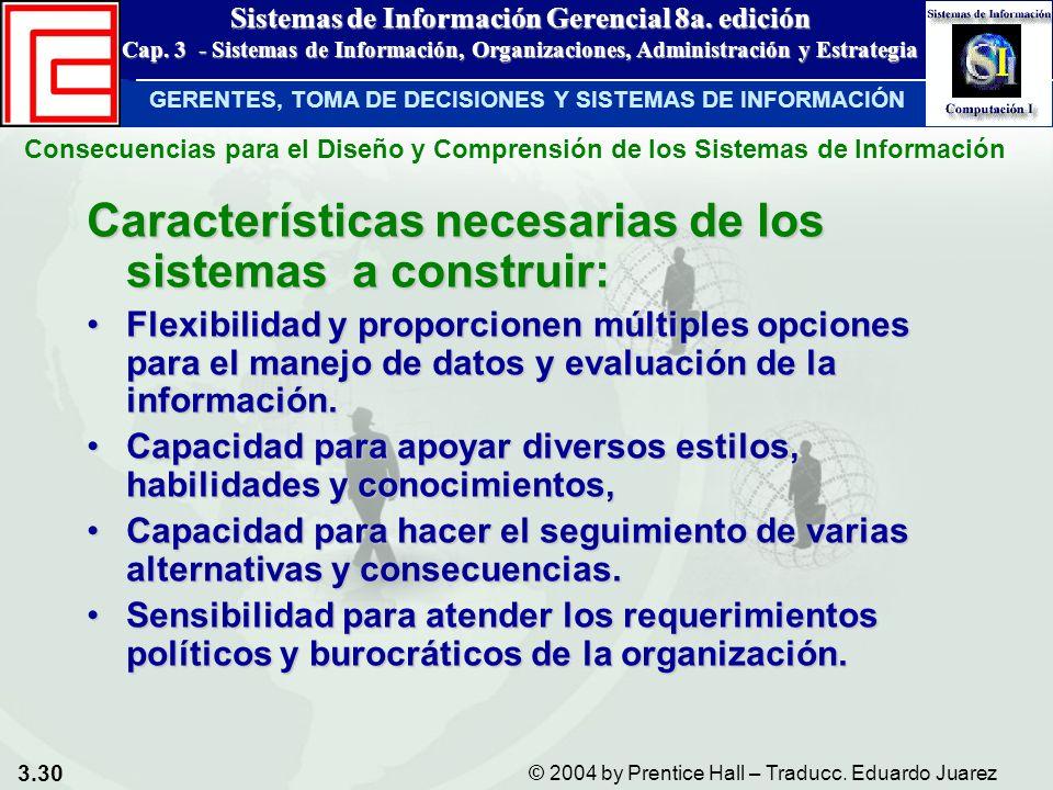 Características necesarias de los sistemas a construir: