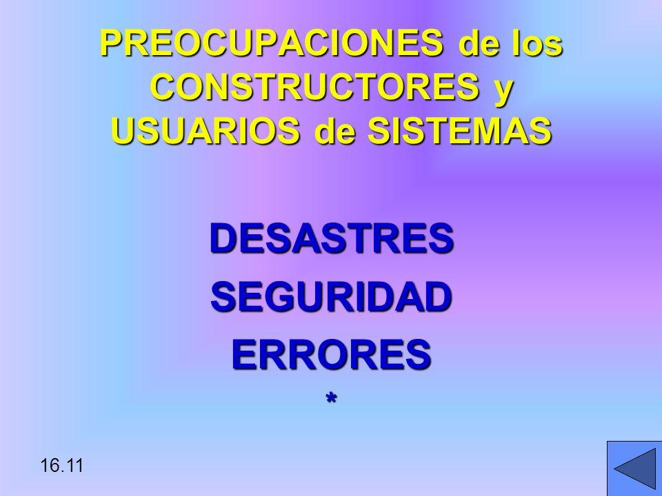 PREOCUPACIONES de los CONSTRUCTORES y USUARIOS de SISTEMAS